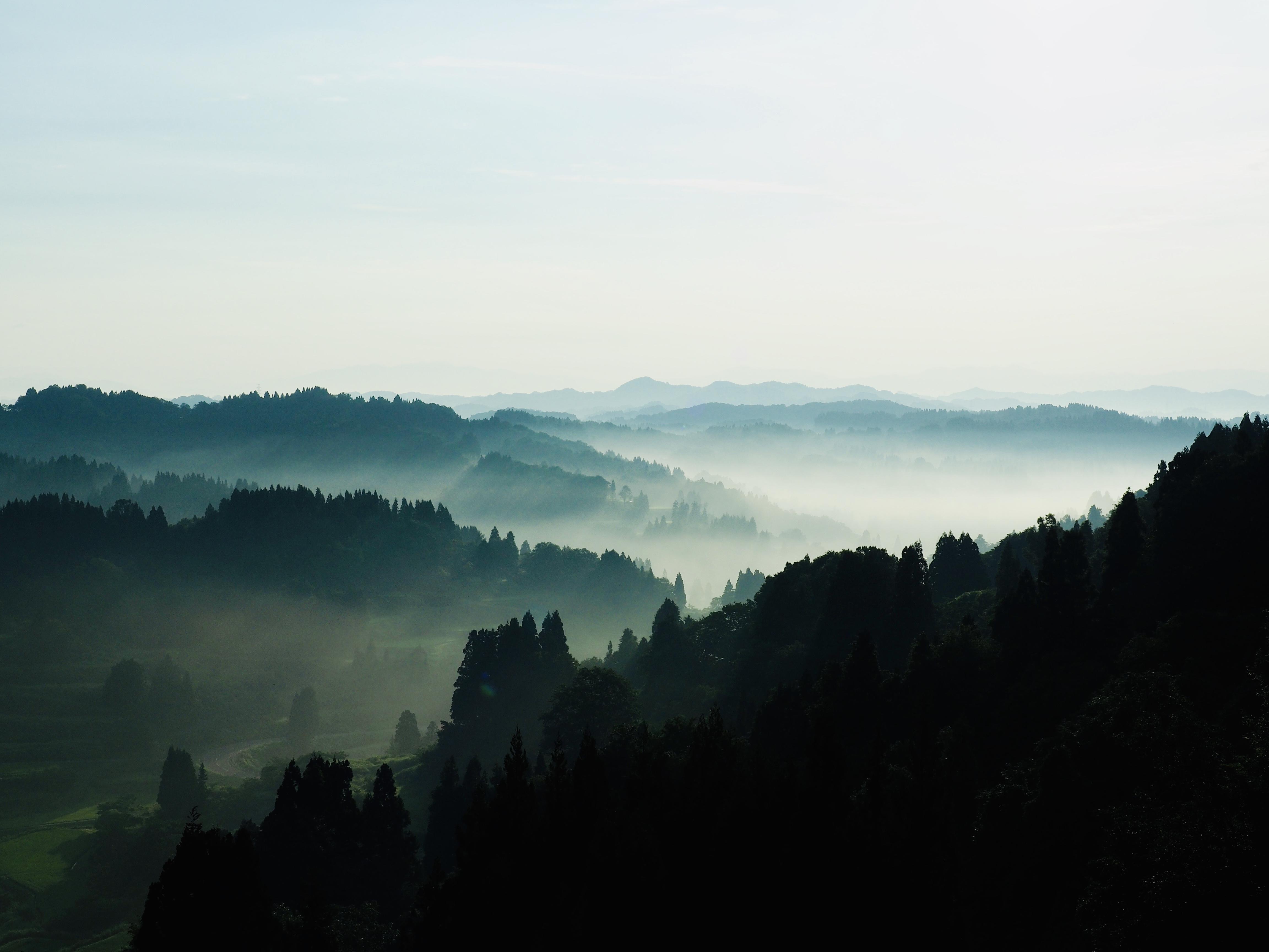星峠の棚田から越後山々を望む